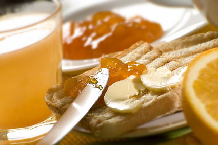 toast with apricot jam and butter close up shoot