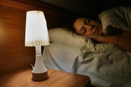 sleep woman, lamp